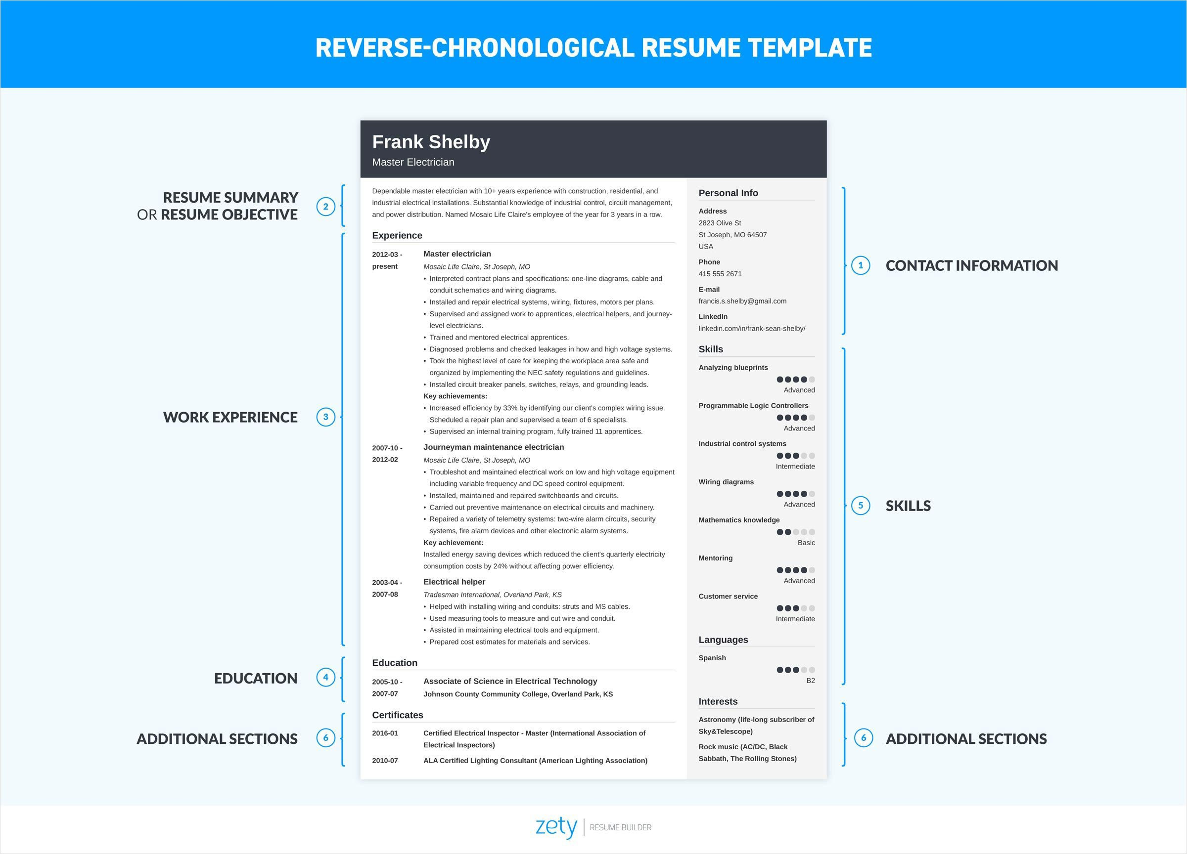 how to make a resume using the reverse chronological resume format