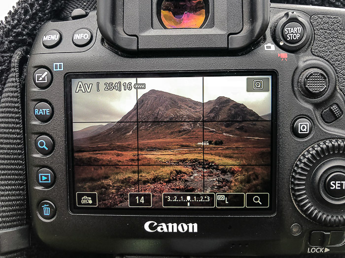Close up of the screen of a Canon DSLR while composing a landscape photo