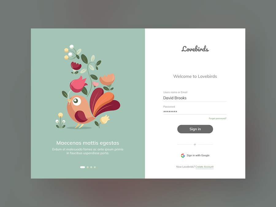 Lovebirds Website Login Design
