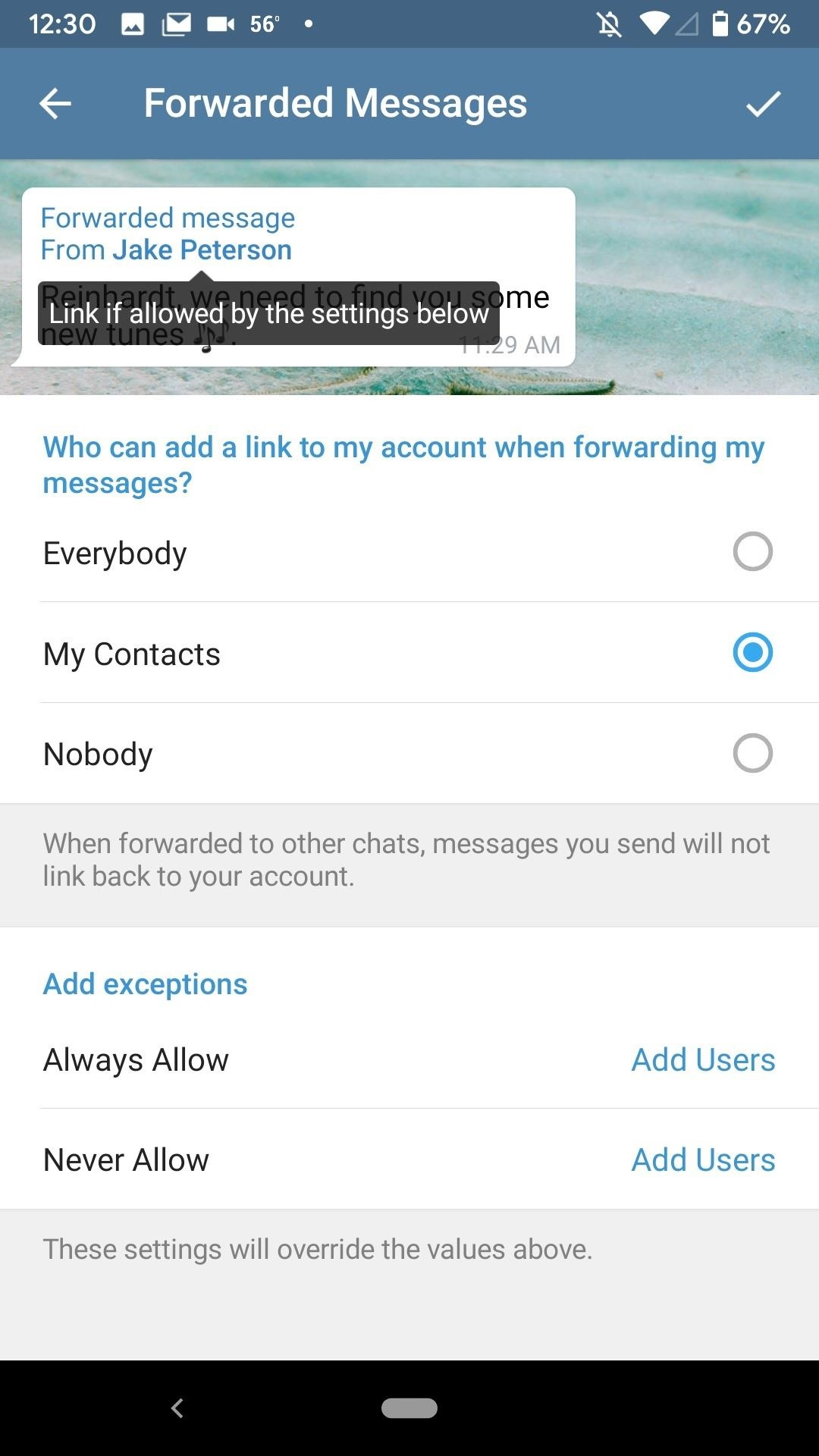Prevent Others from Sharing Your Telegram Account Link When Forwarding Your Messages