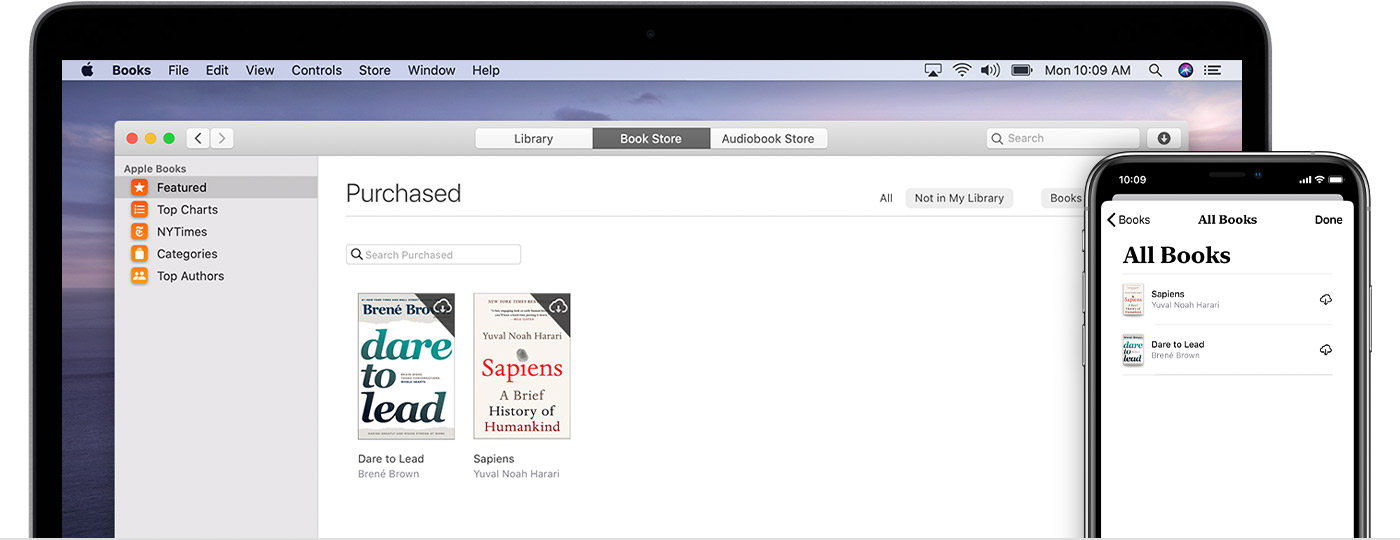 iPhone and Mac showing purchased books that can be redownloaded, including Dare to Lead.