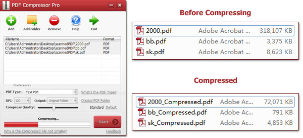 compress PDF files to small file size